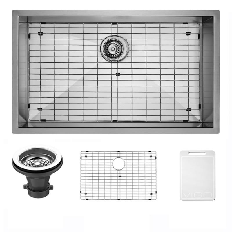 VIGO VG3019BK1 30 Inch Undermount Stainless Steel Kitchen Sink With Grid and Strainer