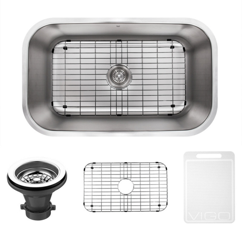 VIGO VG3019CK1 30 Inch Undermount Stainless Steel Kitchen Sink With Grid and Strainer