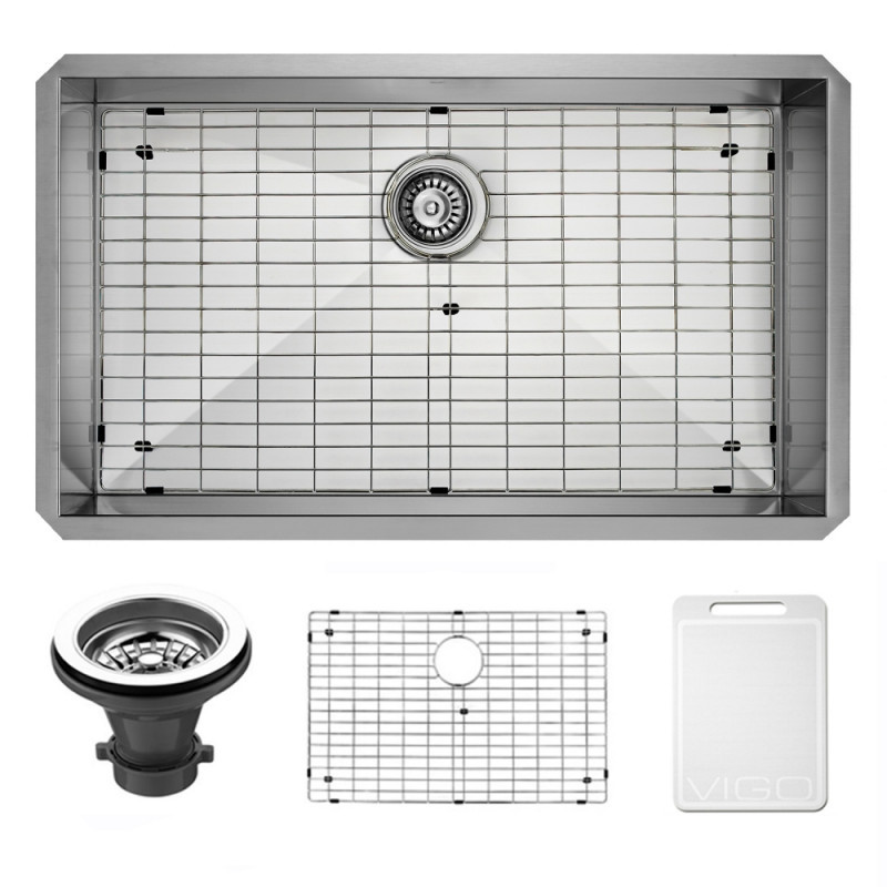 VIGO VG3219CK1 32 Inch Undermount Stainless Steel Kitchen Sink With Grid and Strainer