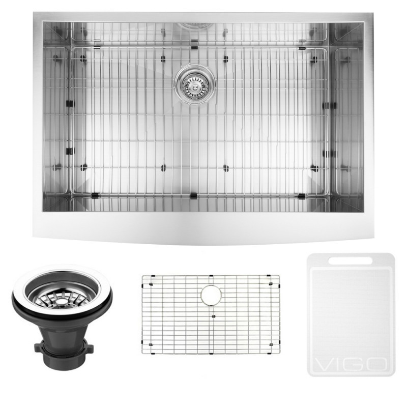 VIGO VG3320CK1 33 Inch Farmhouse Stainless Steel Kitchen Sink With Grid and Strainer