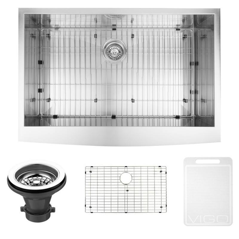 VIGO VG3620CK1 36 Inch Farmhouse Stainless Steel Kitchen Sink With Grid and Strainer
