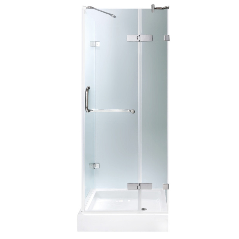 VIGO VG6011CHCL363W Monteray Frameless Clear Glass/Chrome Hardware Shower Enclosure With Base