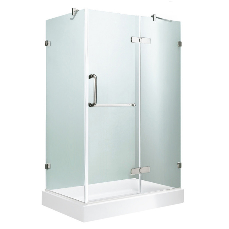 VIGO VG6011CHCL36WR Monteray Frameless Clear Glass/Chrome Hardware Shower Enclosure With Right Base