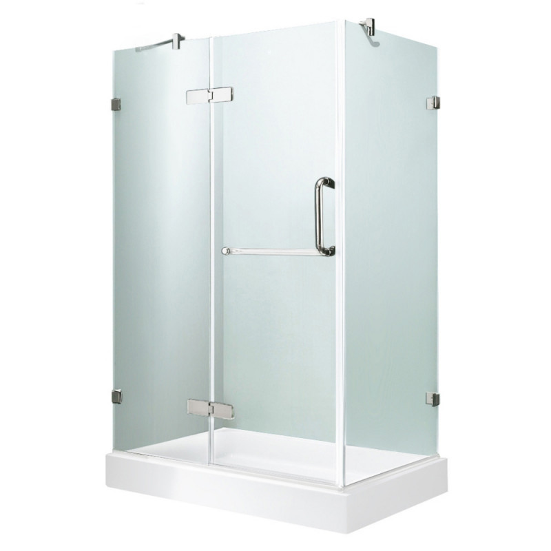 VIGO VG6011CHCL48WL Monteray Frameless Clear Glass/Chrome Hardware Shower Enclosure With Left Base
