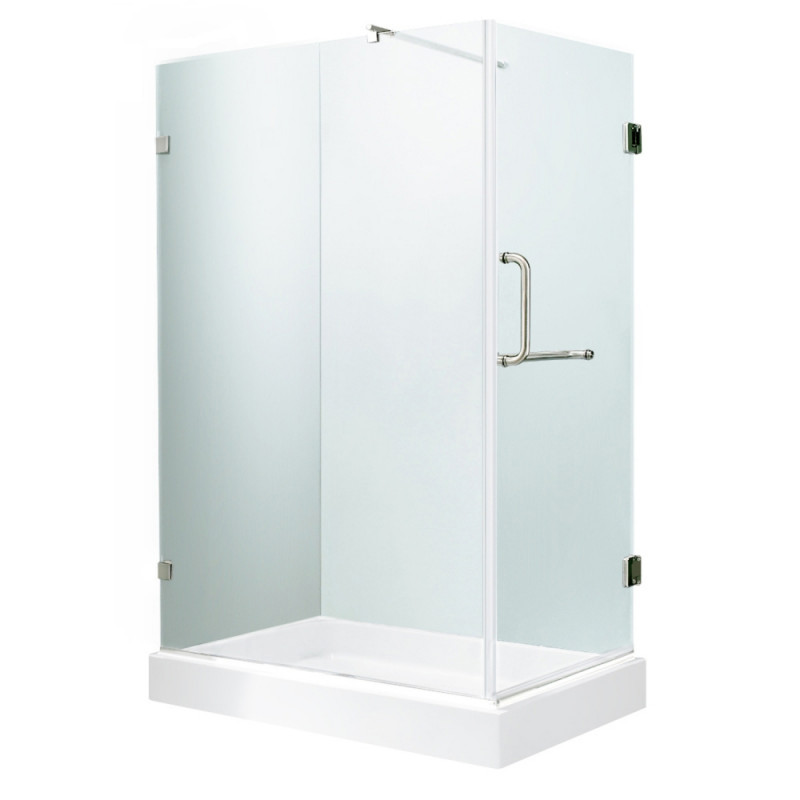 VIGO VG6012CHCL36WL Pacifica Frameless Clear Glass/Chrome Hardware Shower Enclosure With Left Base