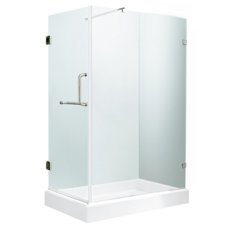 VIGO VG6012CHCL36WR Pacifica Frameless Clear Glass/Chrome Hardware Shower Enclosure With Right Base