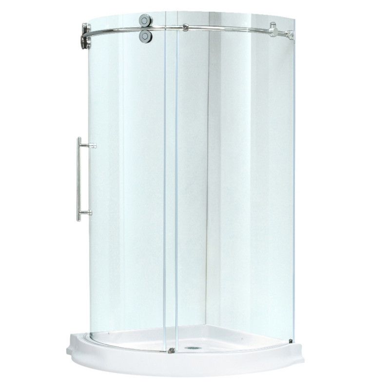 VIGO VG6031CHCL36WL Sanibel Round Clear Glass/Chrome Shower Enclosure Left Sided Door With Base