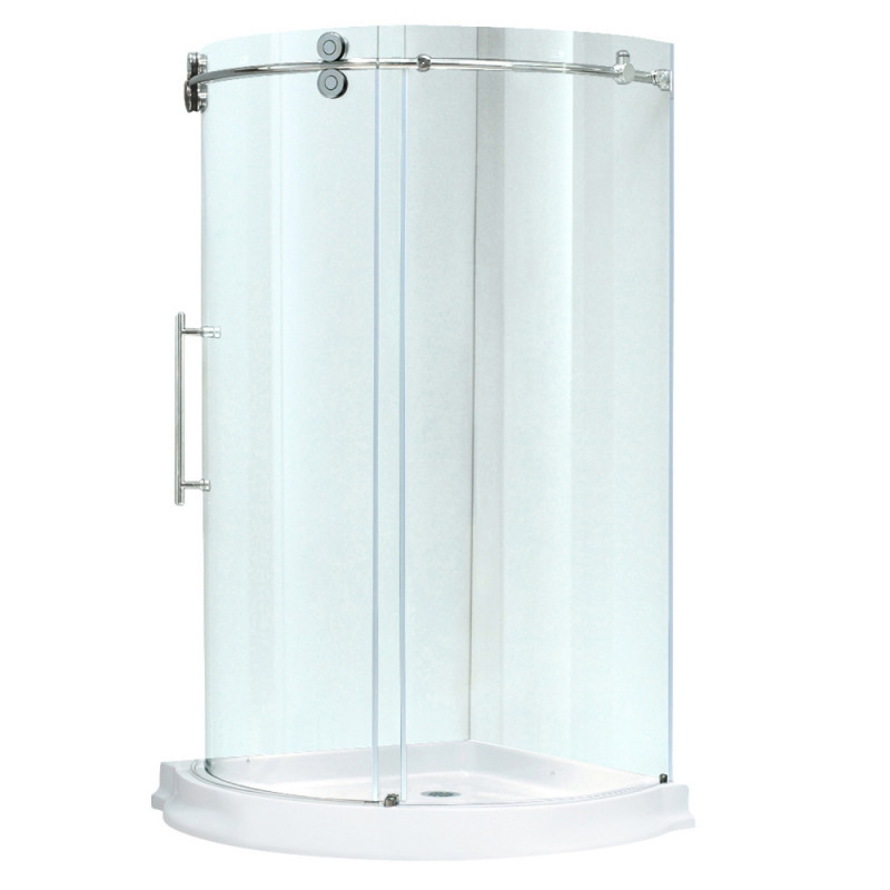 VIGO VG6031CHCL40WL Sanibel Clear Glass/Chrome Hardware Shower Enclosure Left Sided Door With Base