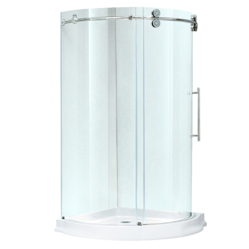 VIGO VG6031CHCL40WR Sanibel Round Clear Glass/Chrome Shower Enclosure Right Sided Door With Base