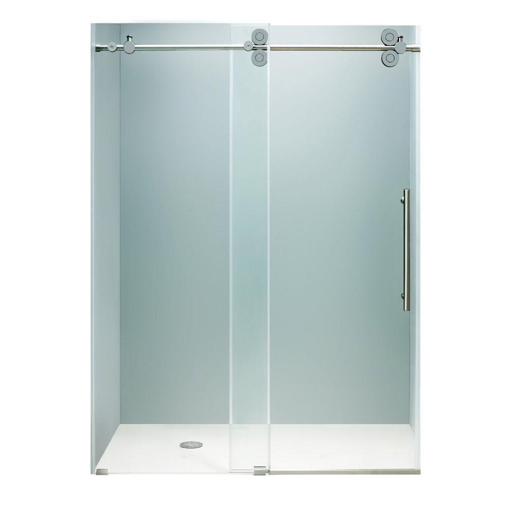 "VIGO VG6041CHCL6474 64"" Frameless Clear Shower Door with Chrome Hardware"