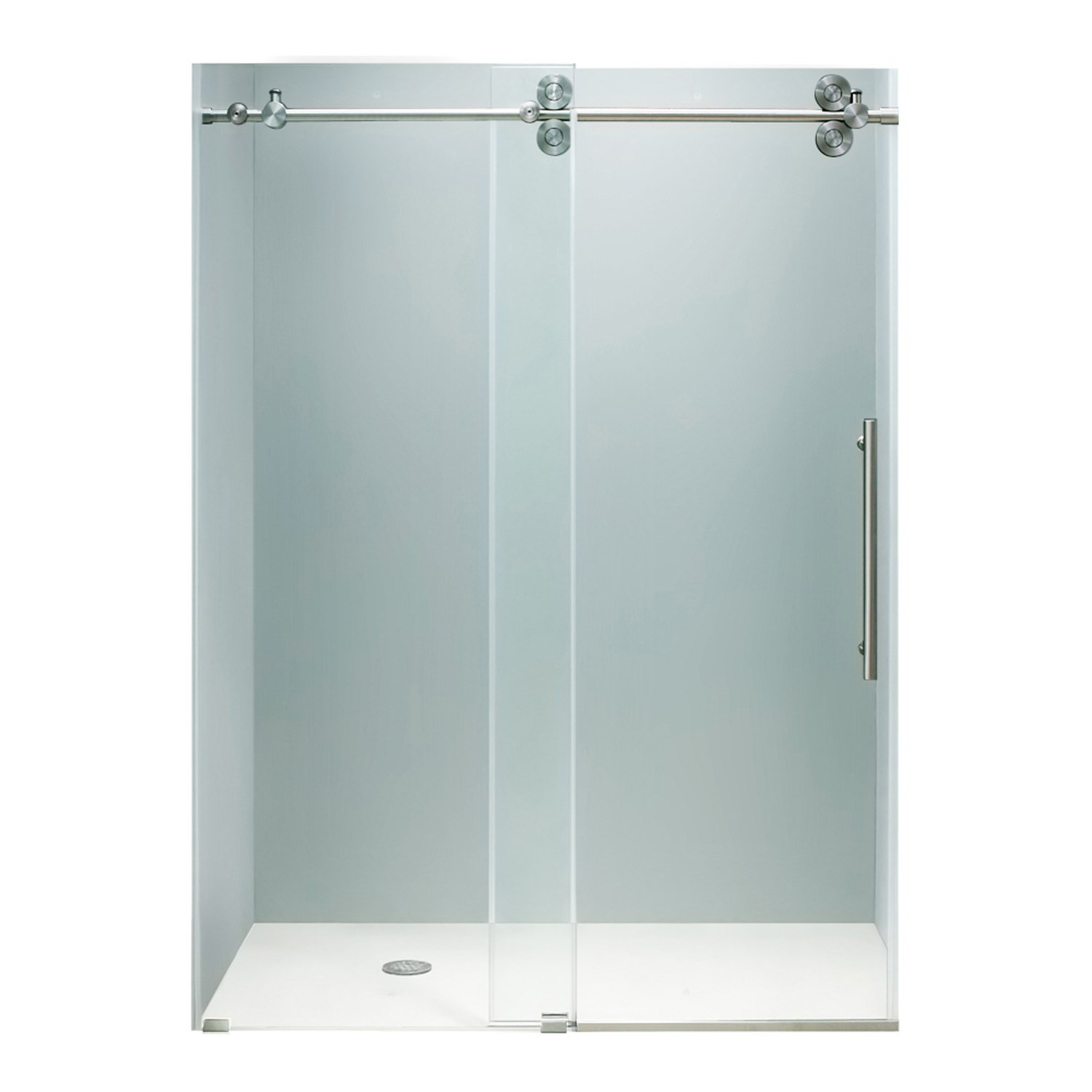 VIGO VG6041STCL6066 Elan Sliding Frameless Tub Door With Clear Glass and Stainless Steel Hardware