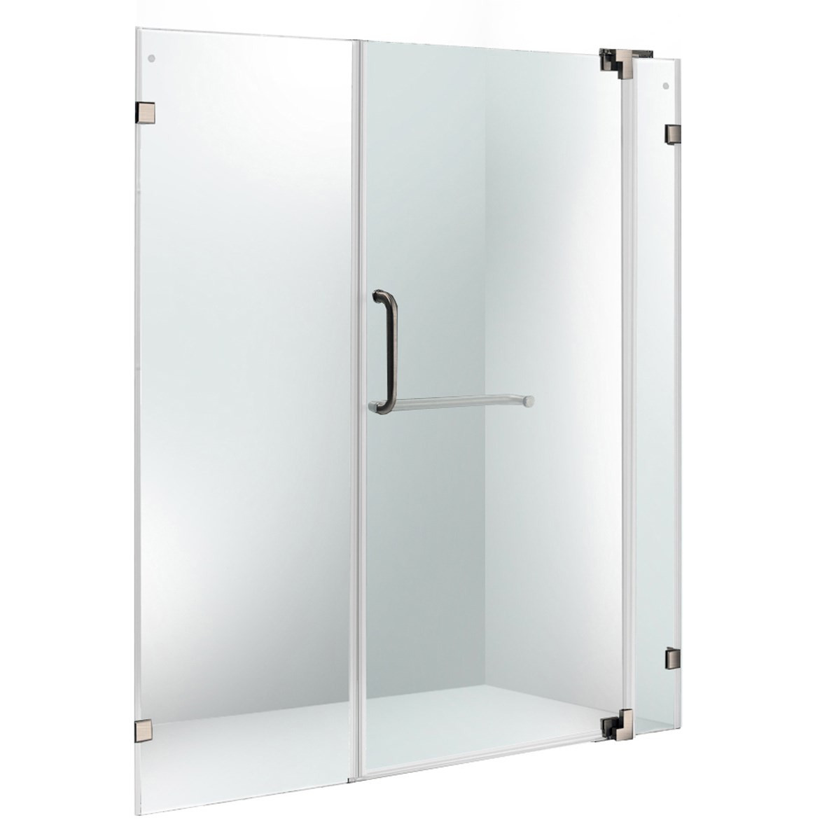 VIGO VG6042BNCL66 Pirouette Clear Glass Frameless Shower Door With Brushed Nickel Hardware