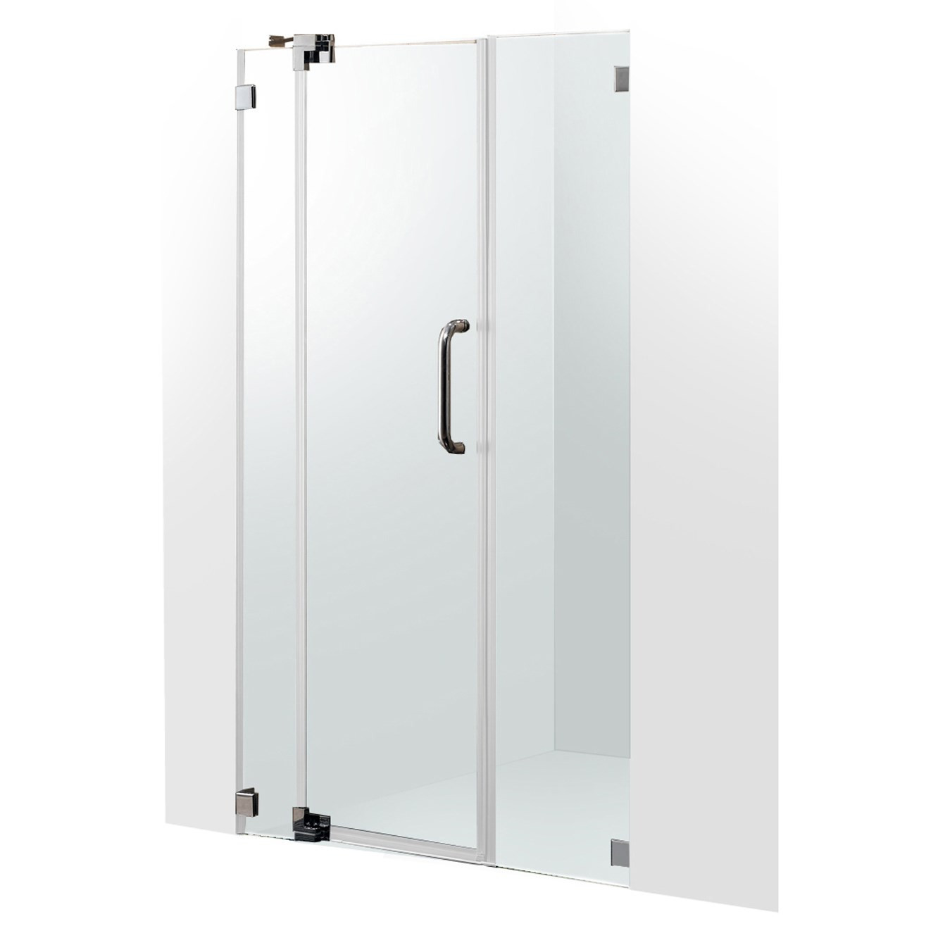 VIGO VG6042CHCL48 Pirouette Frameless Shower Door With Clear Glass and Chrome Hardware