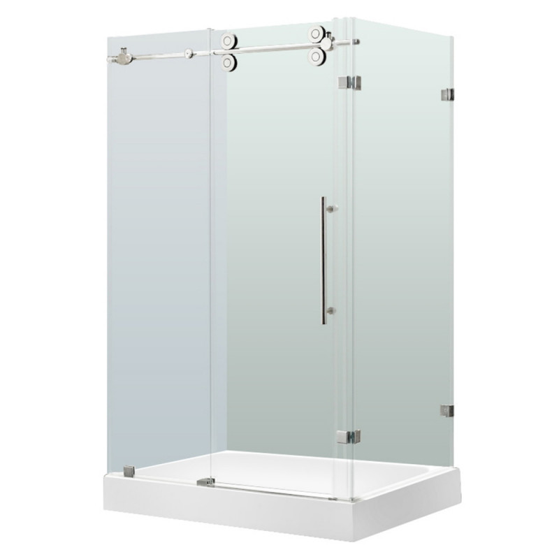 VIGO VG6051CHCL48WL Winslow Frameless Clear Glass/Chrome Hardware Shower Enclosure With Left Base