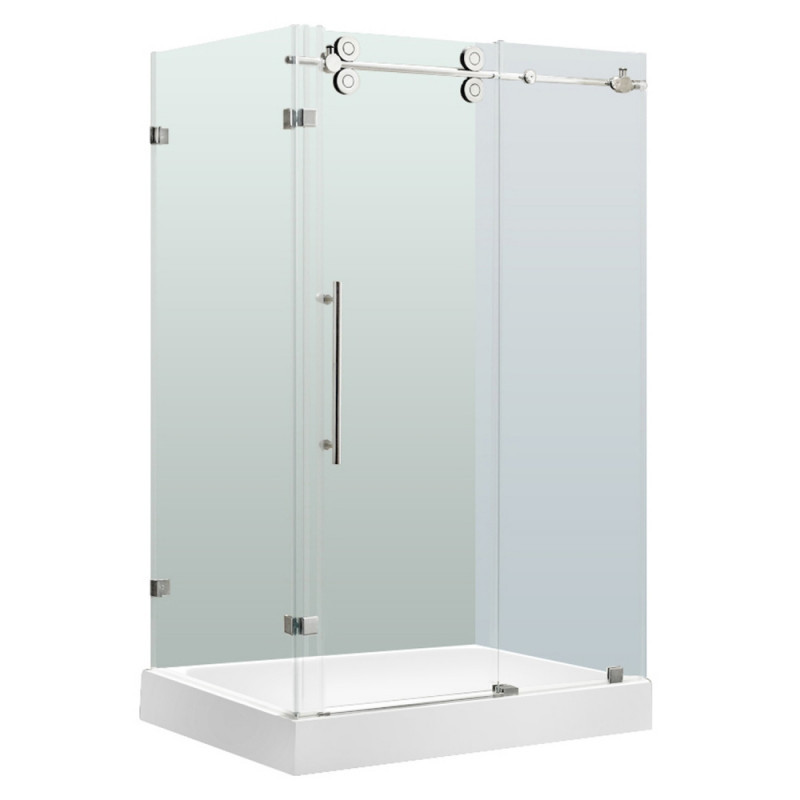 VIGO VG6051CHCL48WR Winslow Frameless Clear Glass/Chrome Hardware Shower Enclosure With Right Base