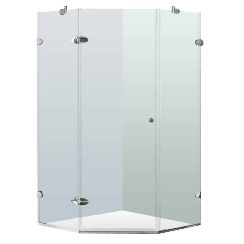 VIGO VG6061CHCL38 Verona Frameless Neo-Angle Clear Glass/Chrome Hardware Shower Enclosure