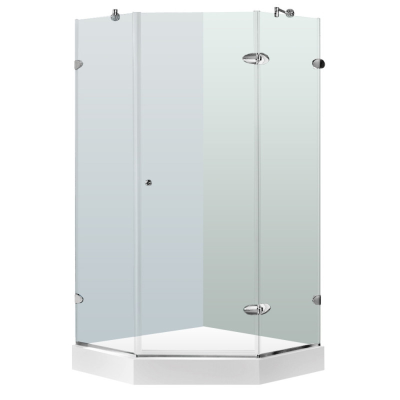 VIGO VG6061CHCL42W Verona Frameless Neo-Angle Clear Glass/Chrome Shower Enclosure With Base