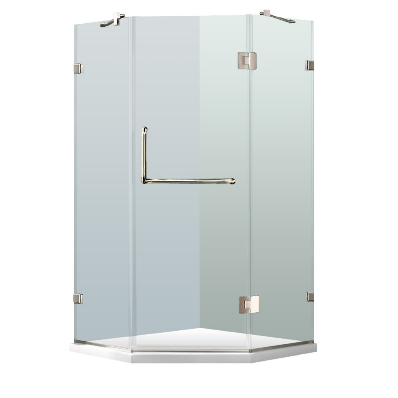 VIGO VG6062CHCL38WS Piedmont Frameless Neo-Angle Clear Glass/Chrome Shower Enclosure With Base