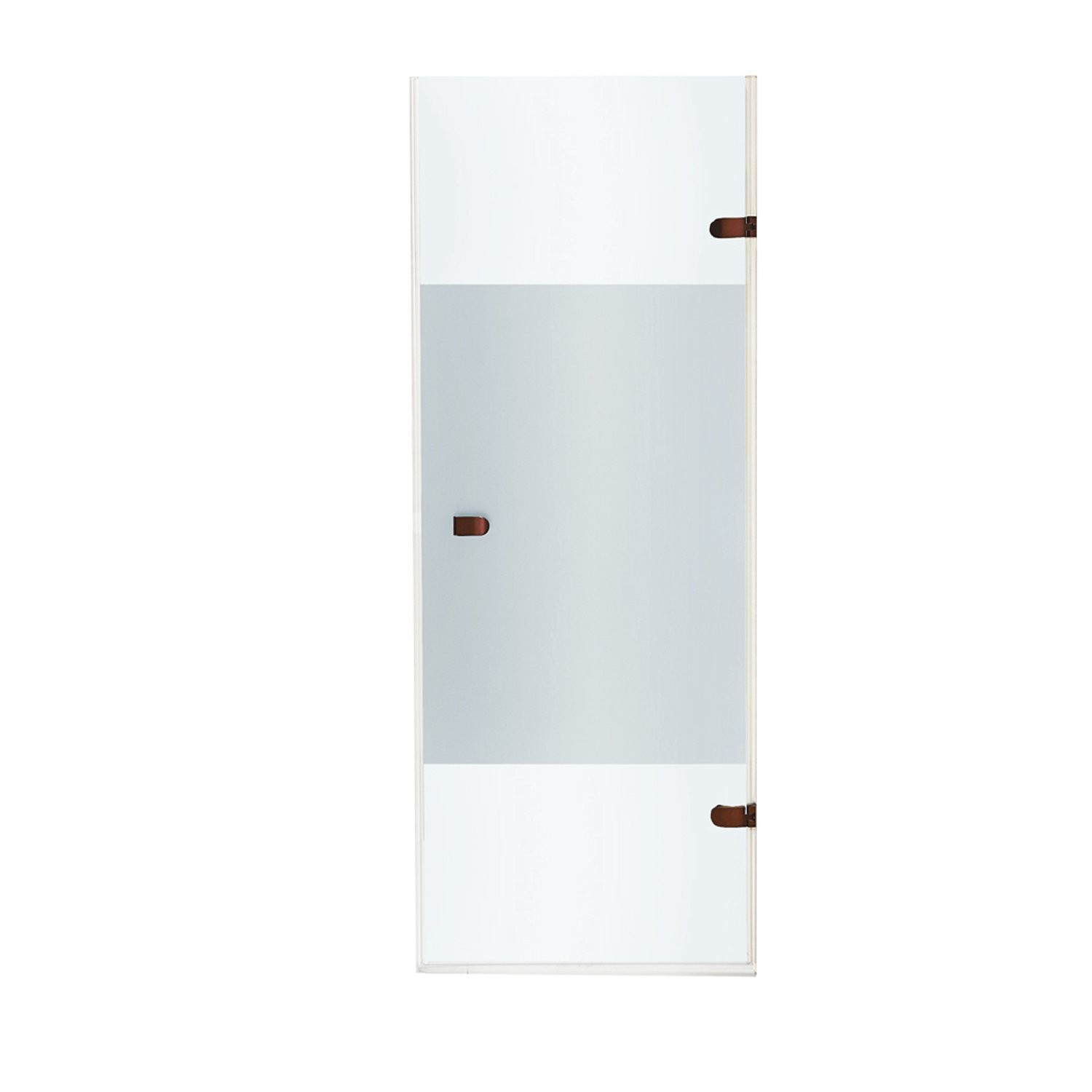 VIGO VG6073RBCMC28 Tempo Hinged Frameless Shower Door With Privacy Panel Glass In Oil Rubbed Bronze