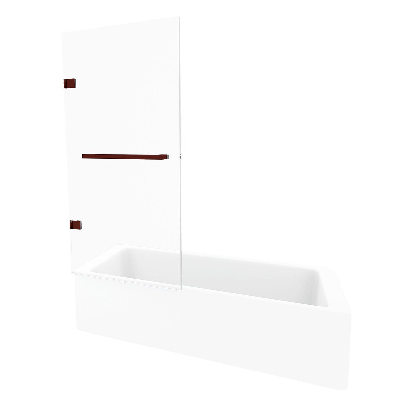VIGO VG6074RBCL3458 Rialto Reversible Bathtub Door In Oil Rubbed Bronze With Clear Glass