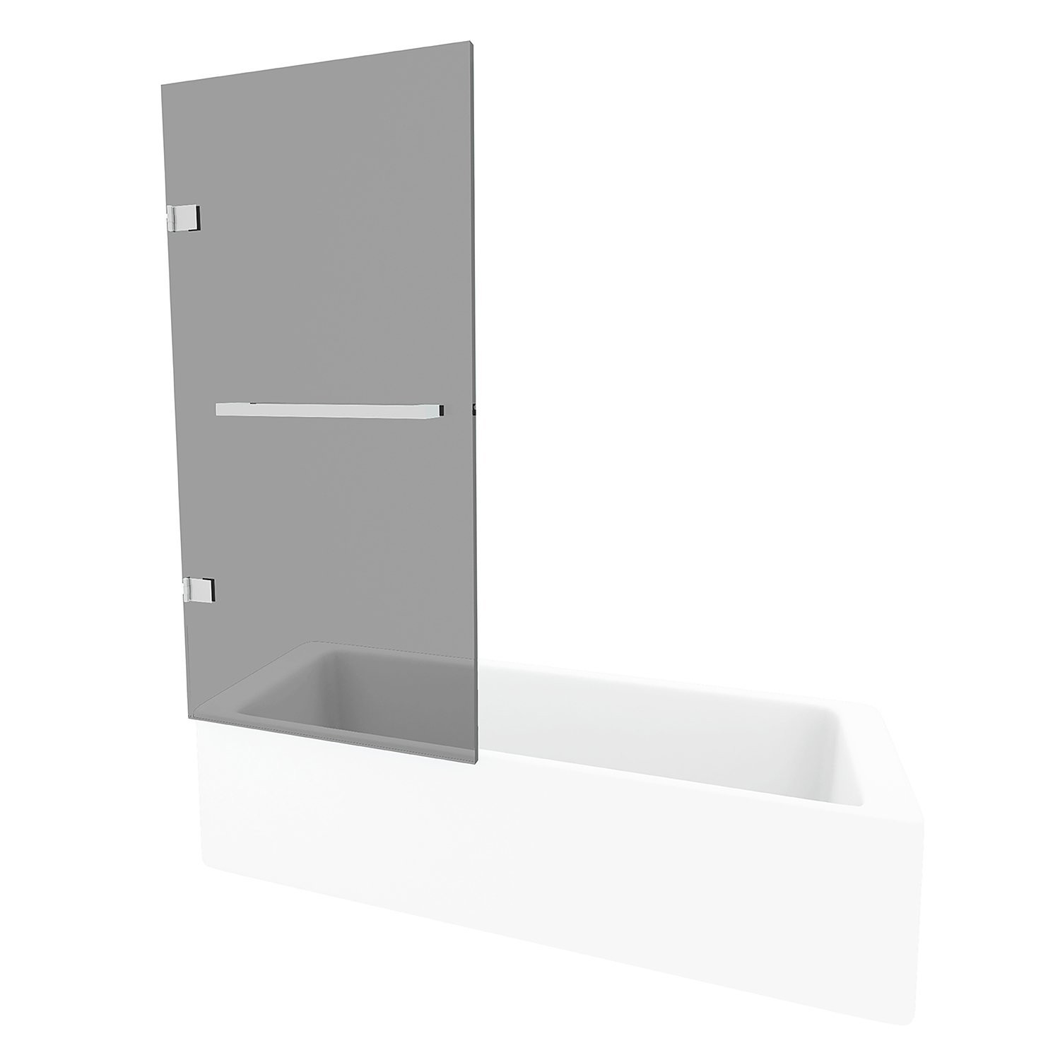 VIGO VG6074STBLK3458 Rialto Reversible Bathtub Door In Stainless Steel With Clear Glass