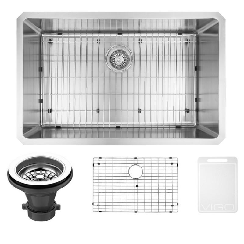VIGO VGR3019CK1 30 Inch Undermount Stainless Steel Kitchen Sink With Grid and Strainer