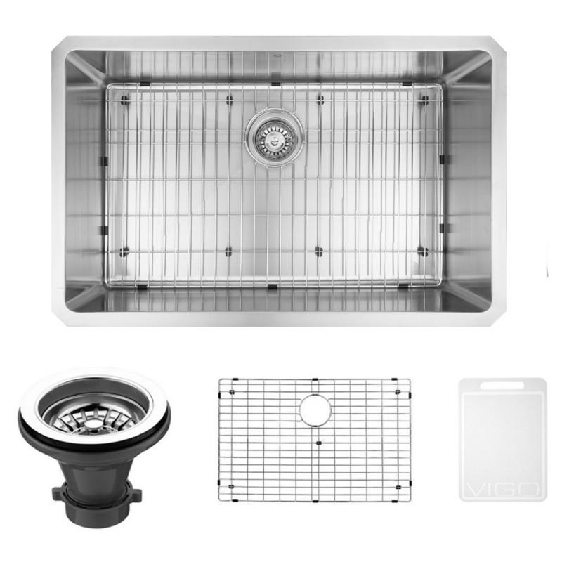 VIGO VGR3219CK1 32 Inch Undermount Stainless Steel Kitchen Sink With Grid and Strainer