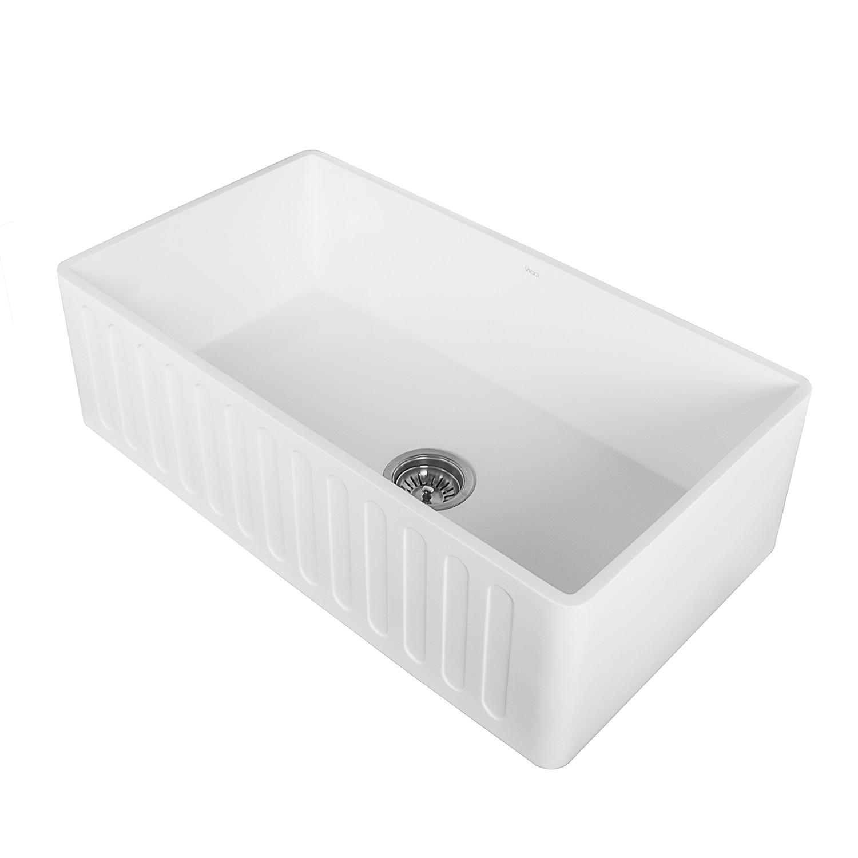 VIGO VGRA3318CS 33 Inch Matte Stone Farmhouse Kitchen Sink in White
