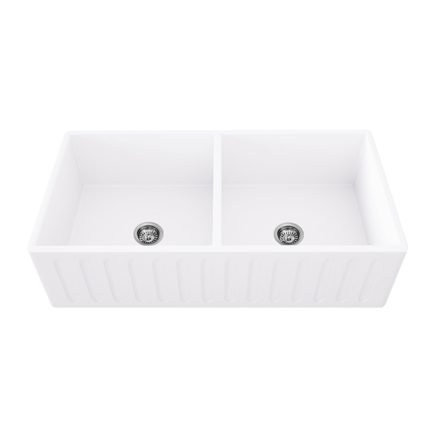 VIGO VGRA3618BL 36 Inch Matte White Double Bowl Acrylic Farmhouse Sink