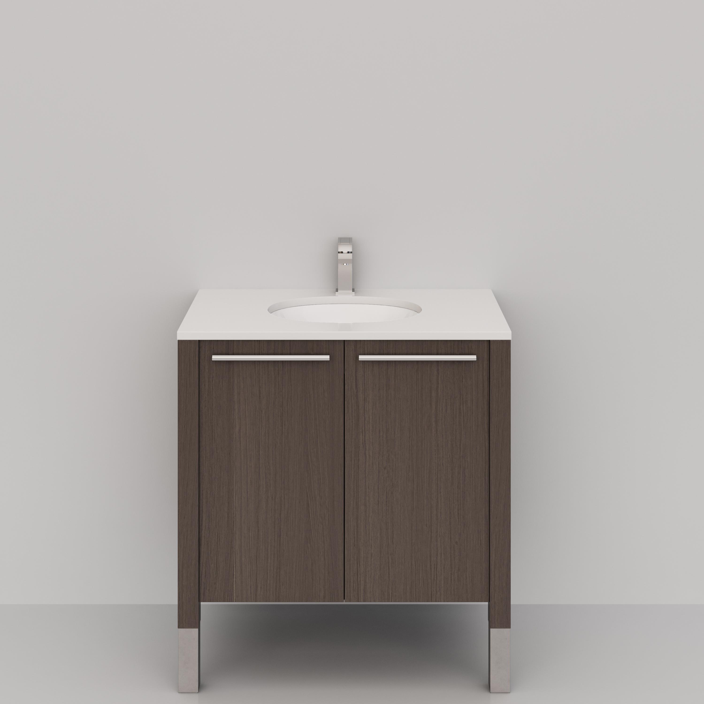 Cantrio Koncepts VS-EM Quartz Top Bathroom Vanity Set In Brown With Undermount Sink