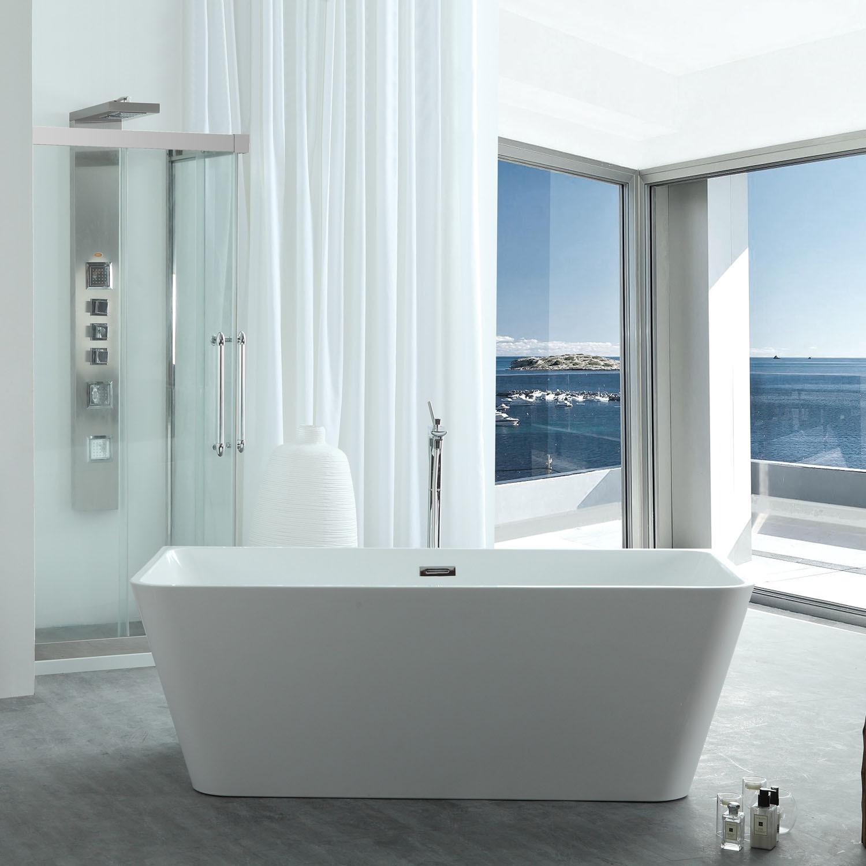 Virtu VTU-3367 White Serenity 67 Inch Acrylic Soaking Bathtub with Center Drain