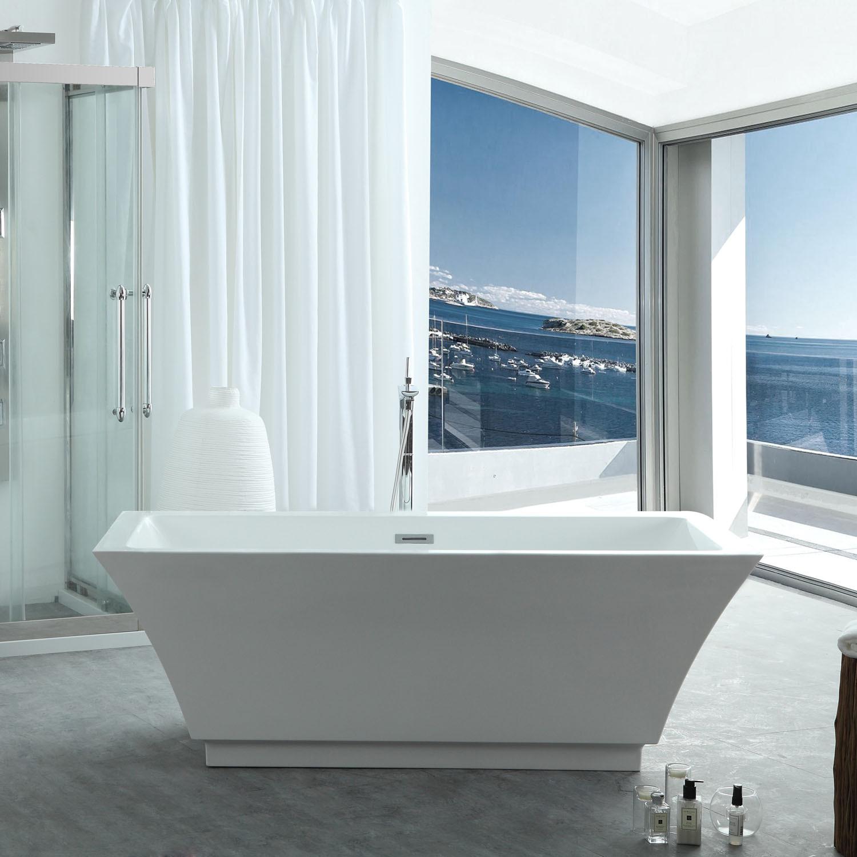 Virtu VTU-3567 Serenity 67 Inch Acrylic Soaking Bathtub with Center Drain