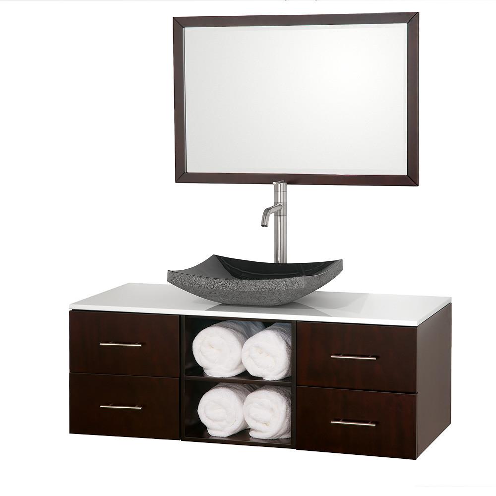 Wyndham WC-B900-48 Wall Mounted Espresso Bathroom Vanity and Mirror
