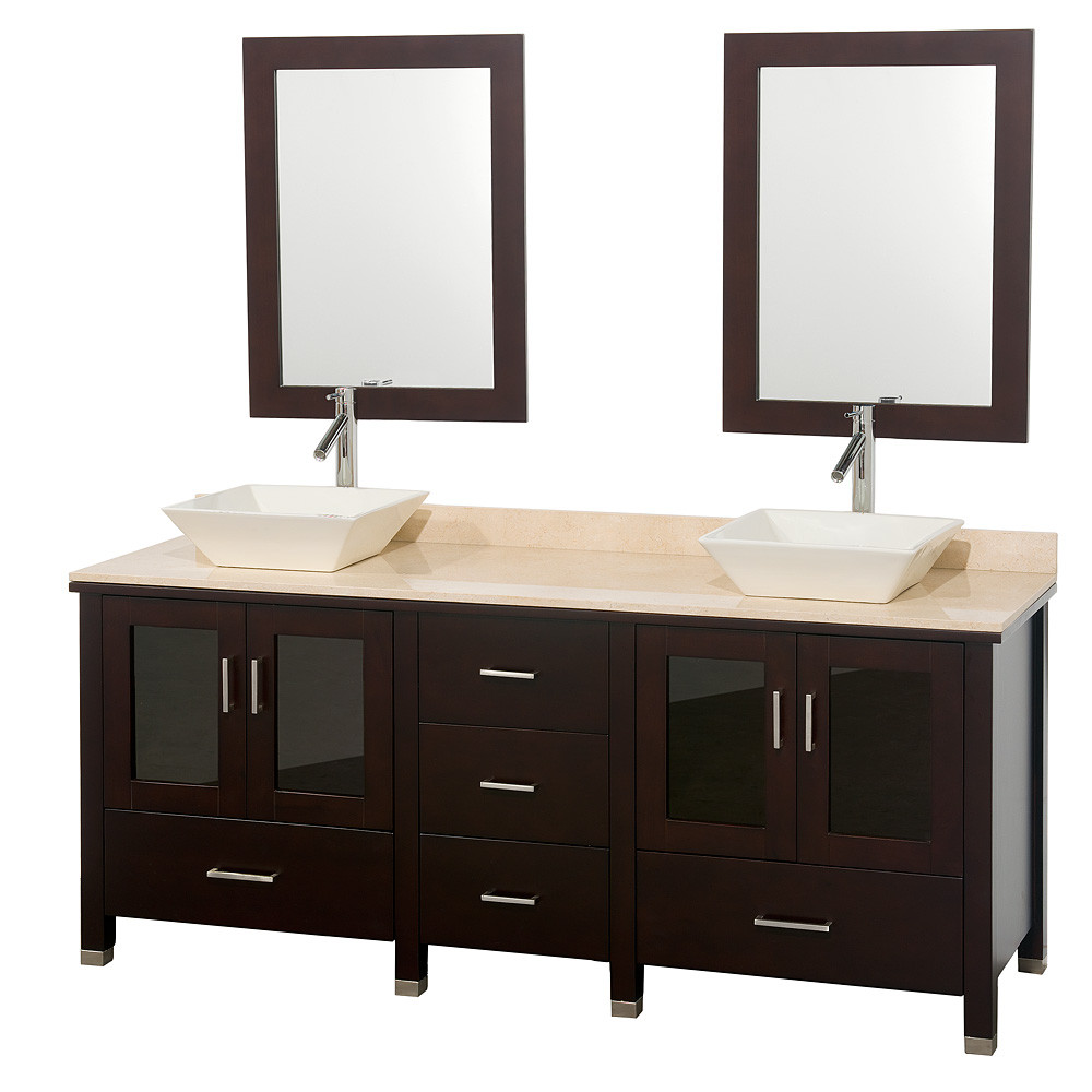 Wyndham WC-MS015-72 Espresso Wood Double Vanity with Marble Countertop