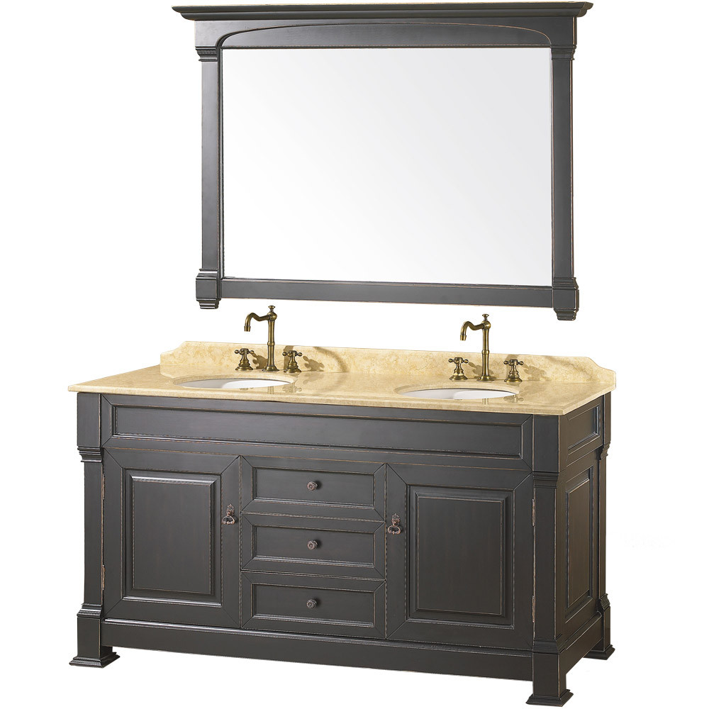 Wyndham WC-TD60 Traditional Wood Double Sink Bathroom Vanity + Mirror