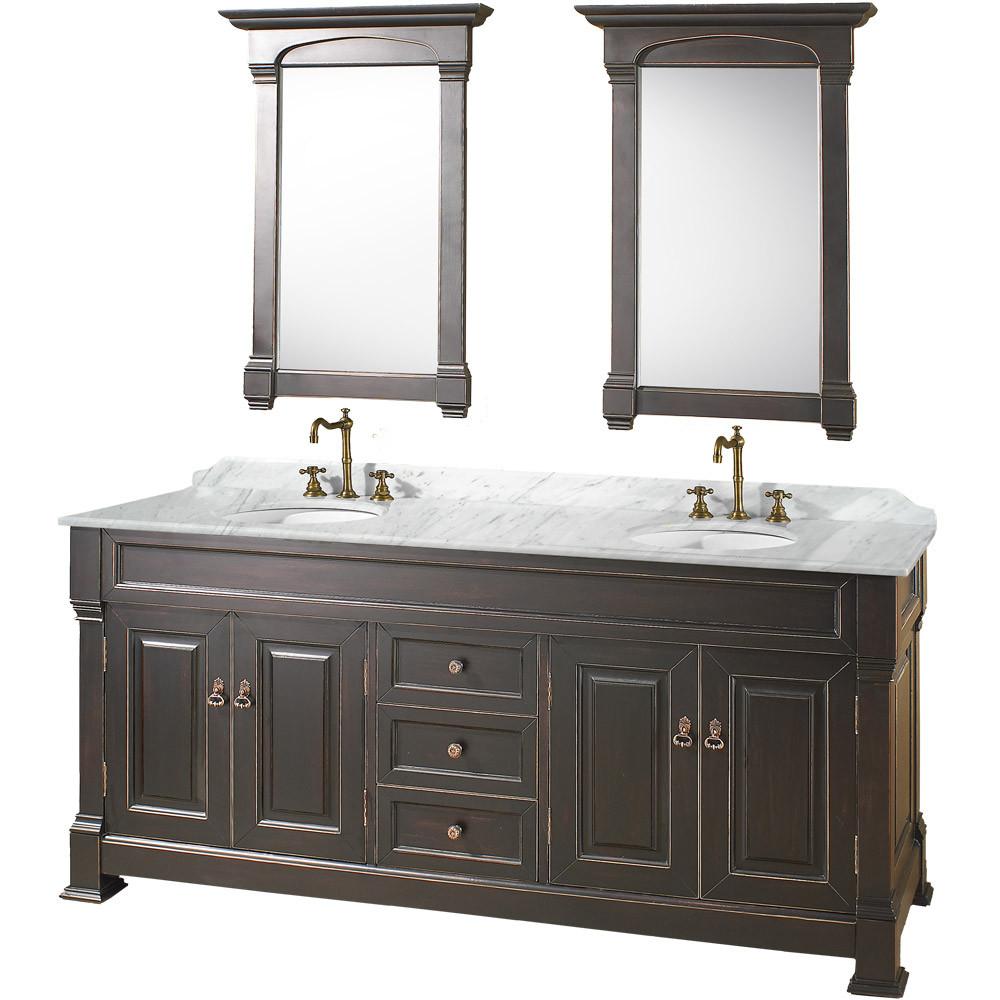 Antique Black Wyndham WC-TD72 Traditional Wood Double Sink Bathroom Vanity + Mirror