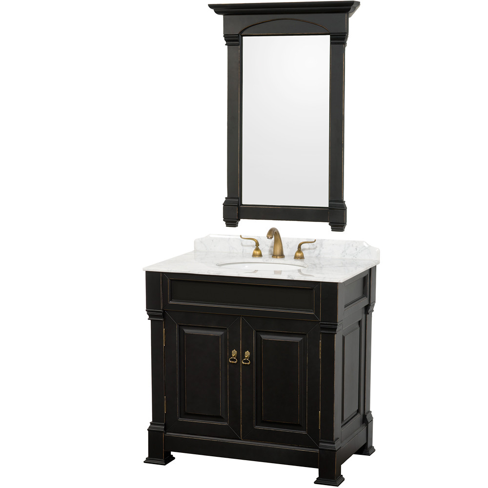 Wyndham WC-TS36 Traditional Wood Bathroom Vanity + Mirror + Countertop
