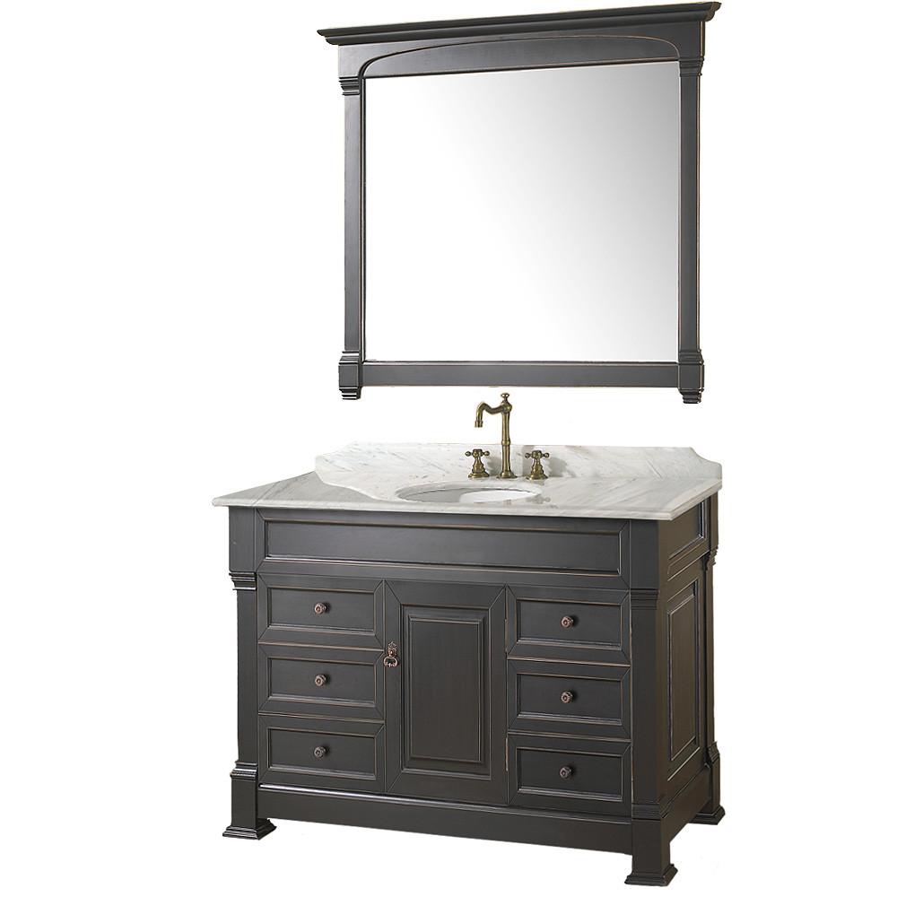 Wyndham WC-TS48 Traditional Wood Bathroom Vanity + Mirror + Countertop