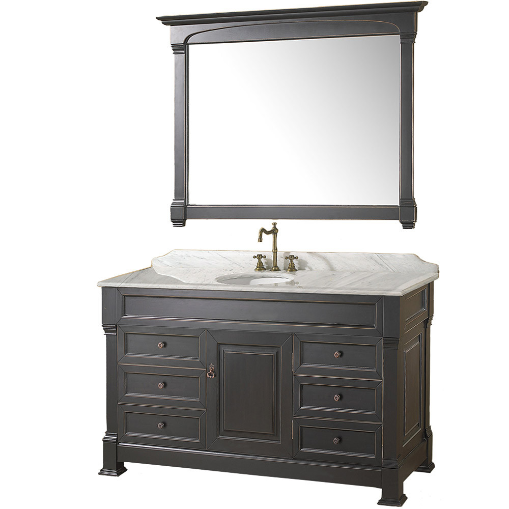 Wyndham WC-TS55 Traditional Wood Bathroom Vanity + Mirror + Countertop