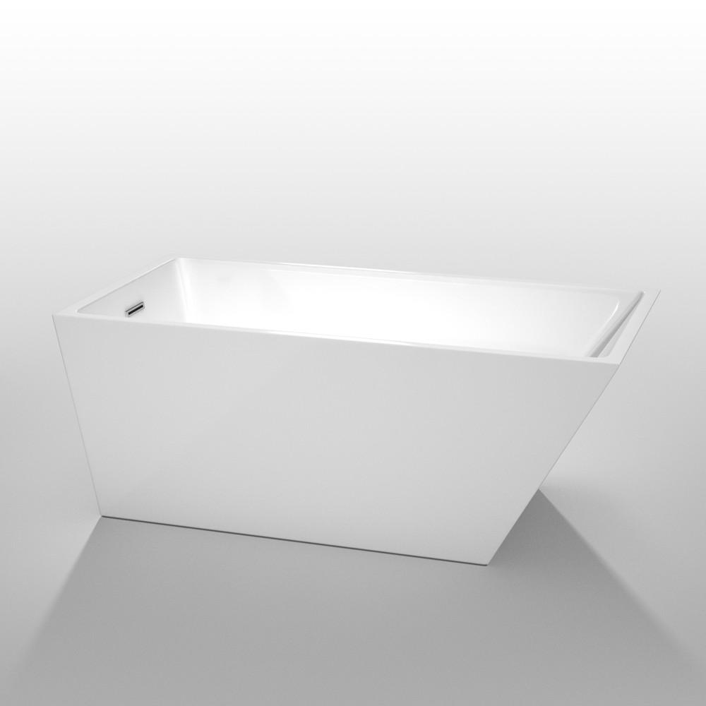Wyndham WCBTK150159 Hannah White  59 in. Soaking Bathtub with Chrome Drain