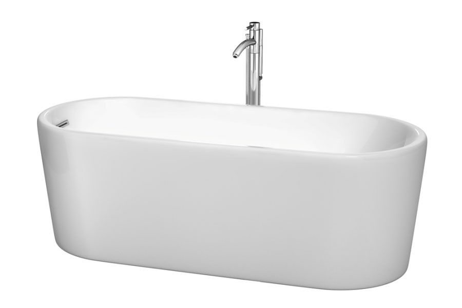 Wyndham WCBTK151167ATP11PC Ursula Bathtub in White Chrome with Faucet