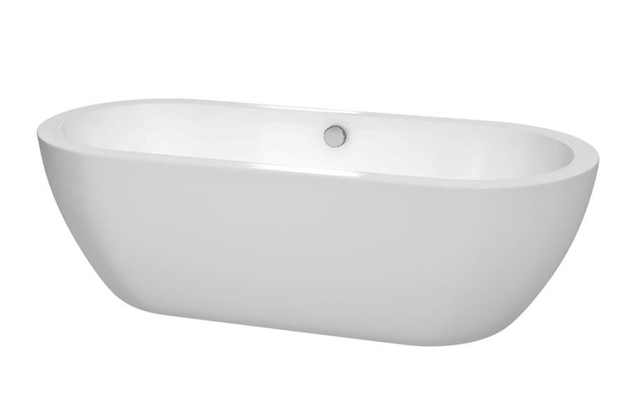 Wyndham WCOBT100272 Soho Soaking Bathtub in White with Polished Chrome Trim