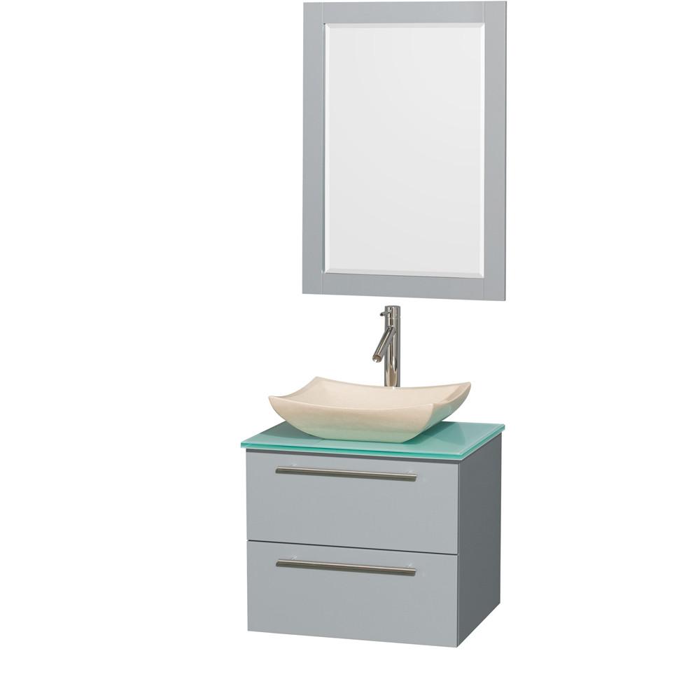Wyndham WCR410024SDGGGGS2M24 Bathroom Vanity Set with Green Glass Countertop