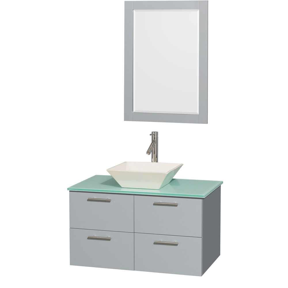 Wyndham WCR410036SDGGGD2BM24 Wall-Mounted Vanity Set with Green Glass Countertop
