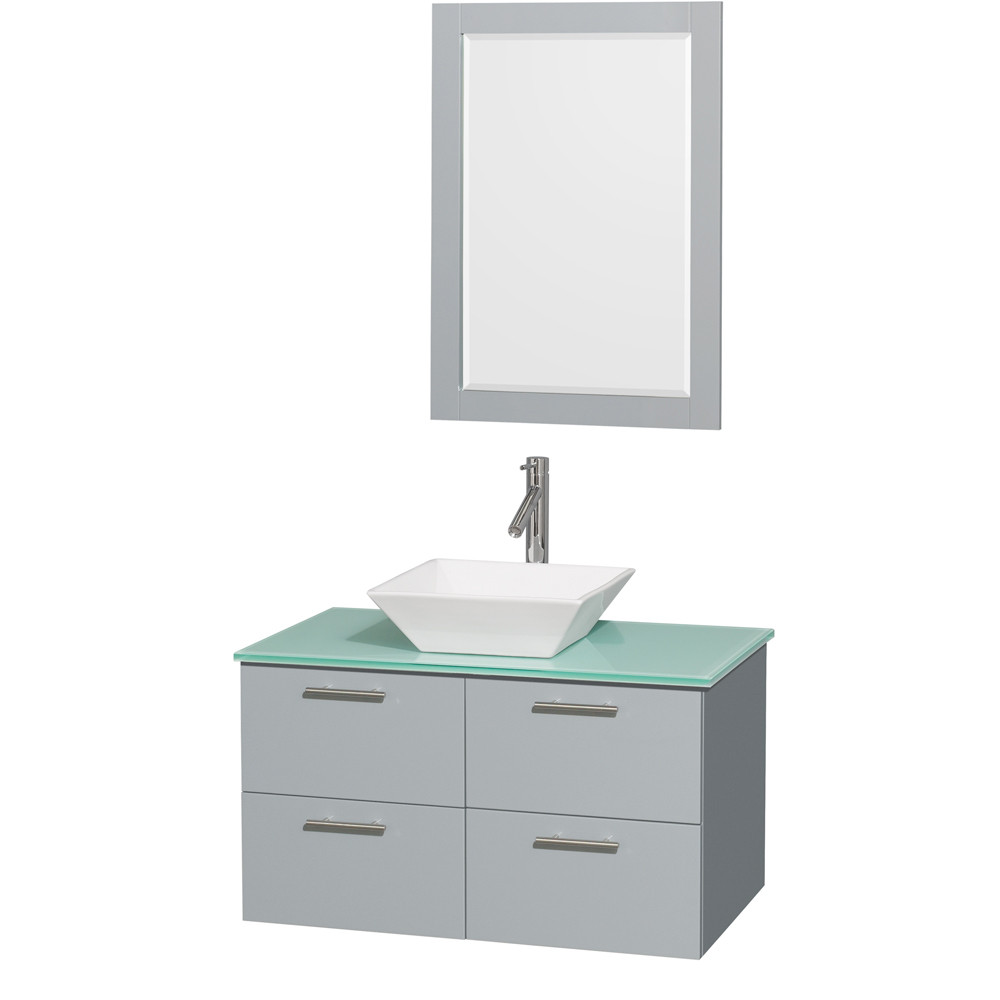 Wyndham WCR410036SDGGGD2WM24 Wall-Mounted Vanity Set with Green Glass Countertop