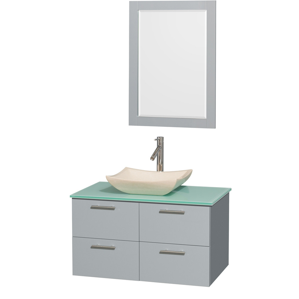 Wyndham WCR410036SDGGGGS2M24 Wall-Mounted Vanity Set with Green Glass Countertop