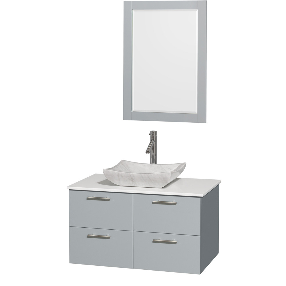 Wyndham WCR410036SDGWSGS3M24 Wall-Mounted Vanity Set with White Man-Made Stone Top