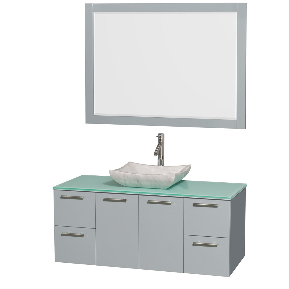 Wyndham WCR410048SDGGGGS3M46 Wall-Mounted Vanity Set with Green Glass Countertop