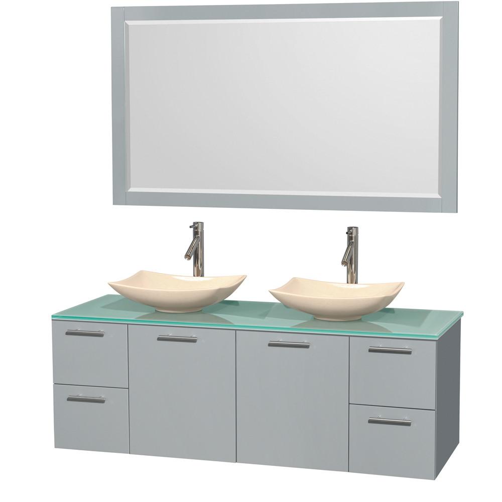 Wyndham WCR410060DDGGGGS5M58 Double Bathroom Vanity Set with Green Glass Top