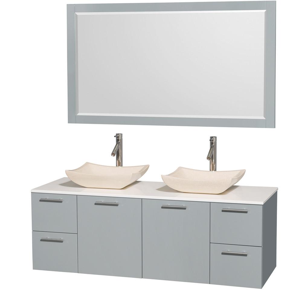 Wyndham WCR410060DDGWSGS2M58 Modern Double Bathroom Vanity Set with Man-Made Stone Top